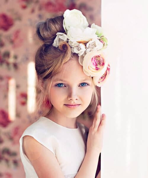 artistic big flowers little girl hairstyles