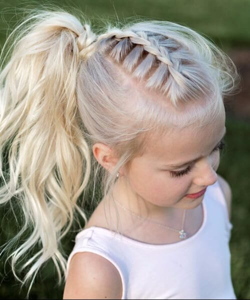 french braid pony tail curls little girl hairstyles