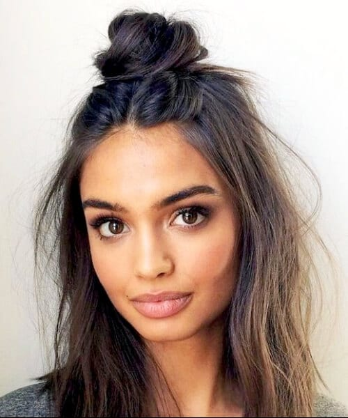 weekend hair, a half-up top knot hairstyles for thin hair