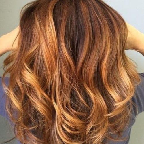 auburn balayage color de pelo