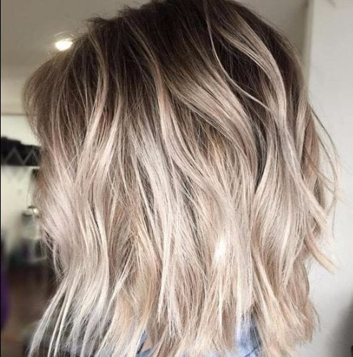 beach waves bob balayage hair color
