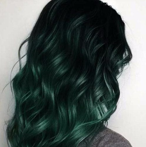 forest green balayage hair color