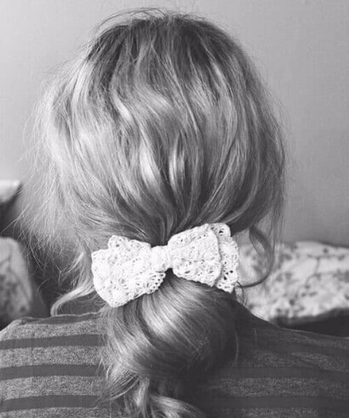 lace ribbon sweet rolls medium length hairstyles