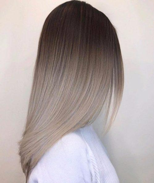 milky gray balayage hair color