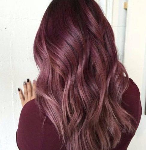 rosa palo de rosa balayage color de pelo