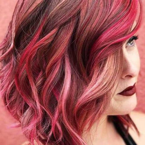 tonos de rosa cortes de pelo en capas