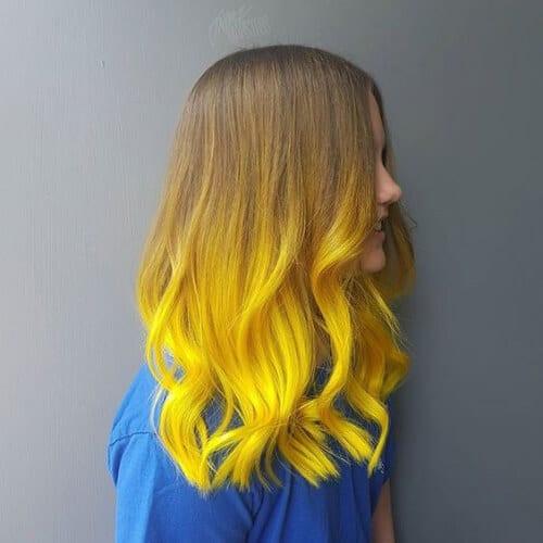 solar amarillo balayage color de pelo
