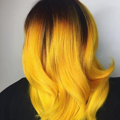 girasol amarillo cortes de pelo en capas