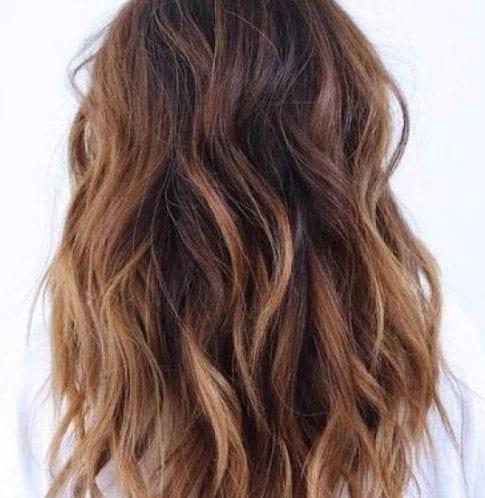 canela caliente balayage color de pelo