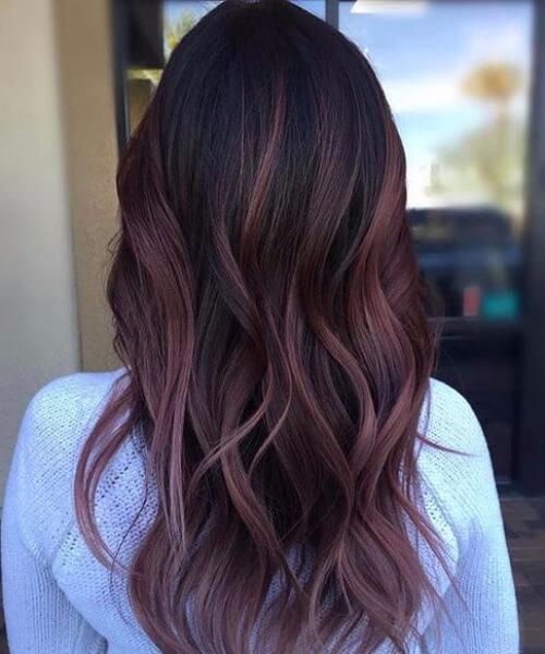Black Plum Balayage plum hair color