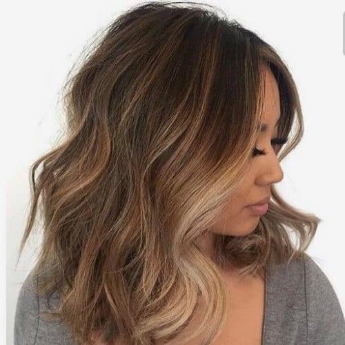 Brown Hair with Blonde Highlights Short Medium Wavy Haircut