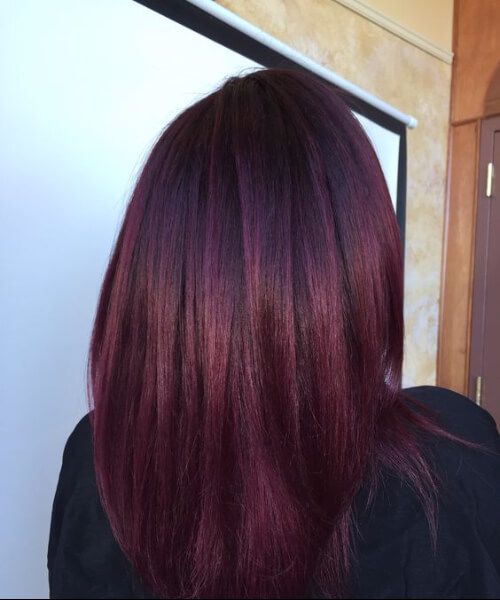 Dark violet base with Merlot color melt balayage plum hair color