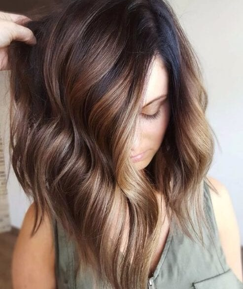 Mocha bayalage on dark brunette base fall hair colors