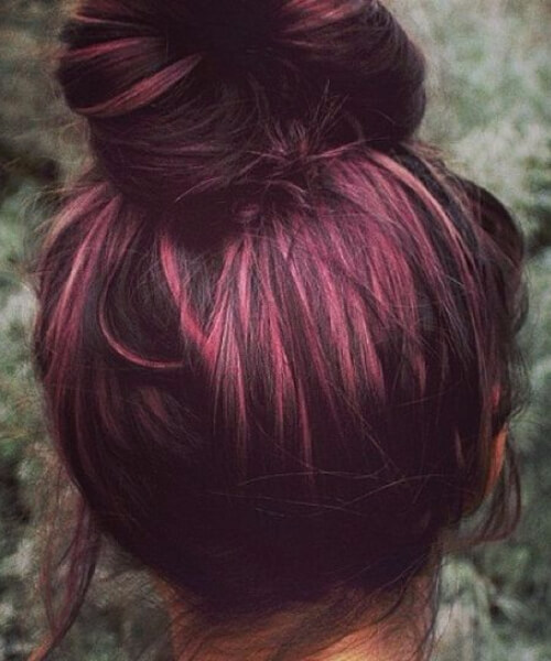 Plum Hair color with rosegold peekaboo highlights