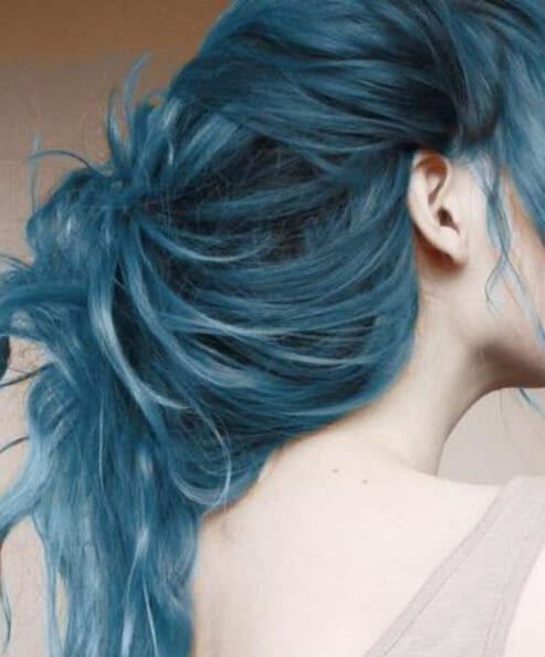 blue watercolor teal hair color