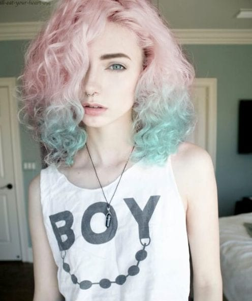 curly bob pink and teal hair color