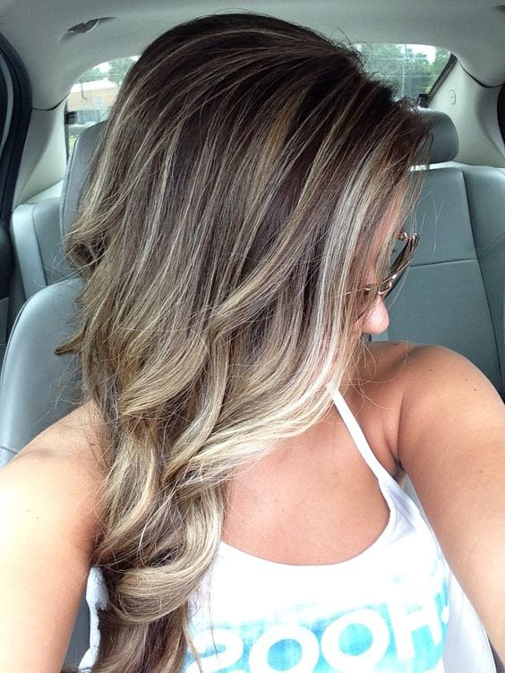 diamond white and beige brown hair with blonde highlights