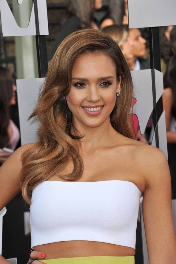 jessica alba brown hair with blonde highlights