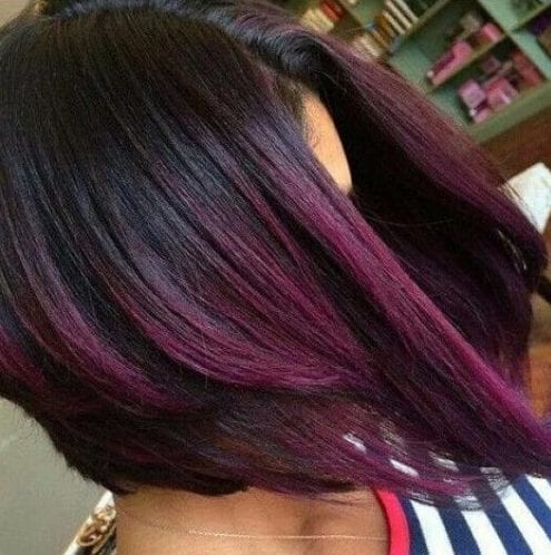 layered bob plum hair color