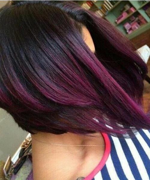 layered bob plum hair color