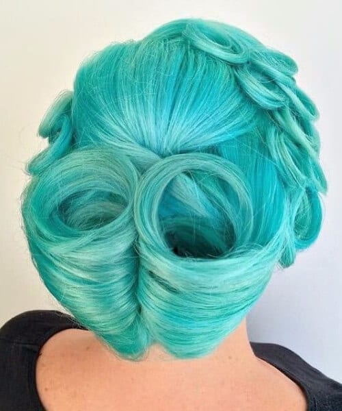 low victory rolls teal hair color