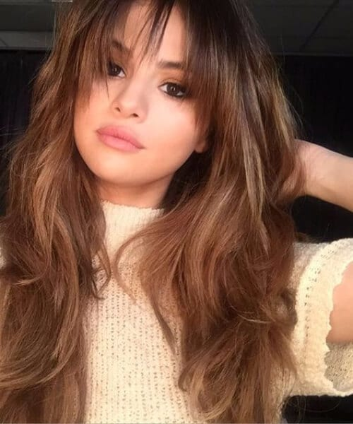 selena gomez hairstyles with bangs
