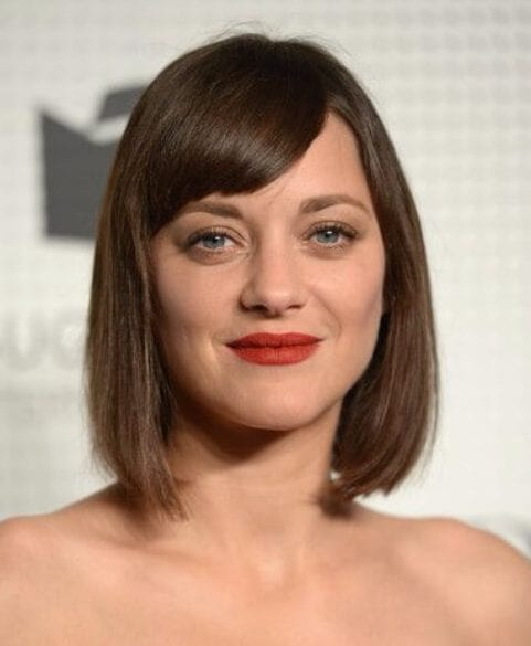 Marion Cotillard side swept bangs