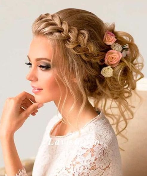 fishtail crown braid wedding hairstyles for long hair