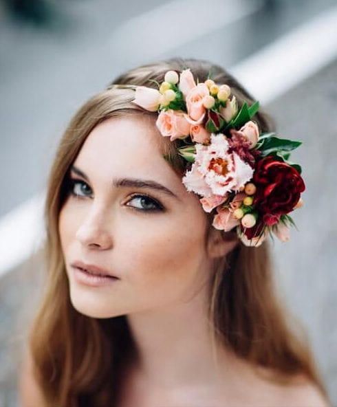 front floral piece wedding hairstyles for long hair