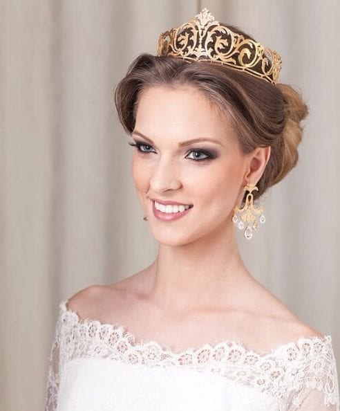 golden crown wedding hairstyles for long hair