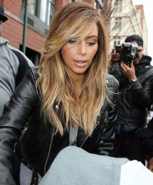 kim k side swept bangs