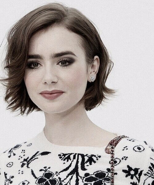 lily collins short hairstyles for thick hair