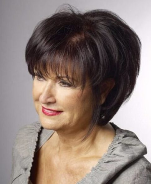 long bob with fringe hairstyles for women over 60