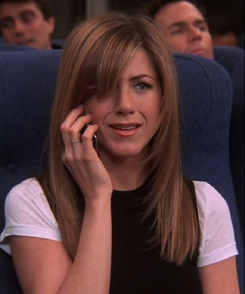 rachel green side swept bangs