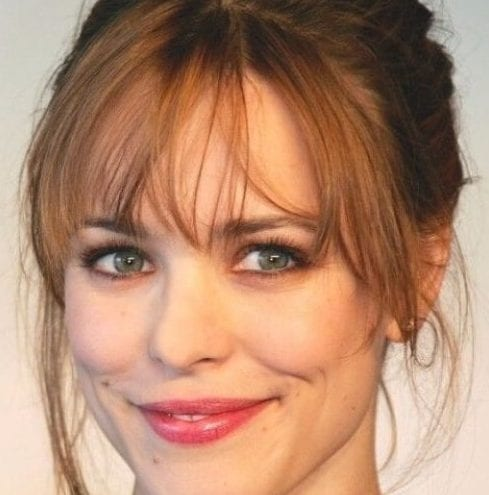 rachel mcadams long hair with bangs