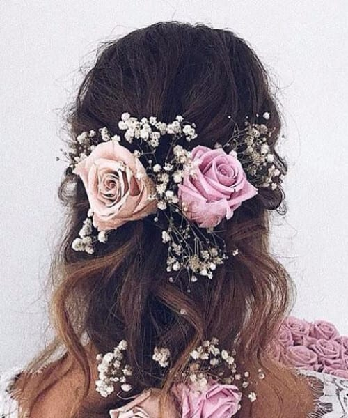 roses in braid wedding hairstyles for long hair