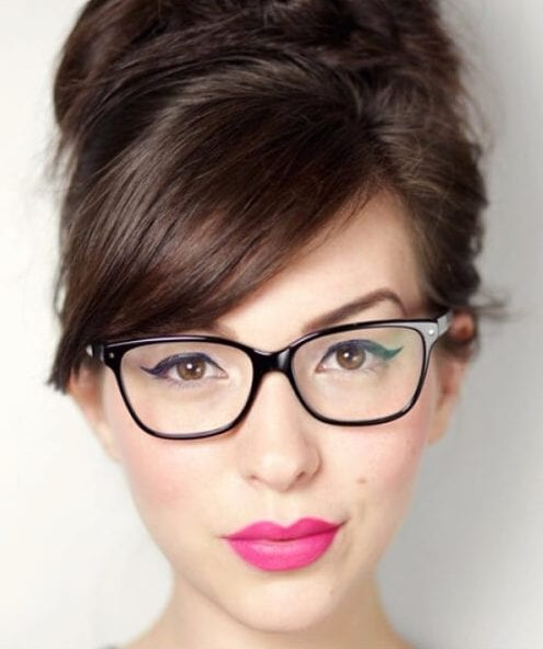 side swept bangs glasses