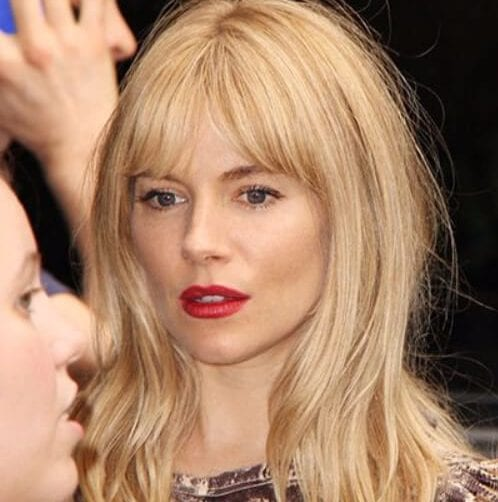 sienna miller long hair with bangs
