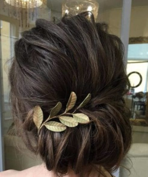 simple gold leaf wedding hairstyles for long hair