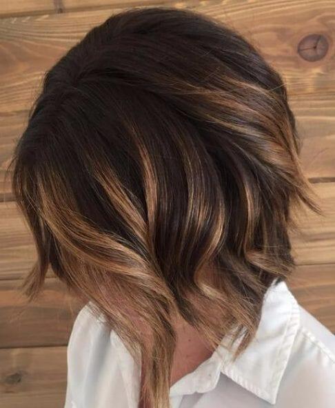 balayage short hair Caramel brunette balayage bob with dark smudge root