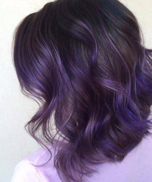 brunette purple balayage short hair
