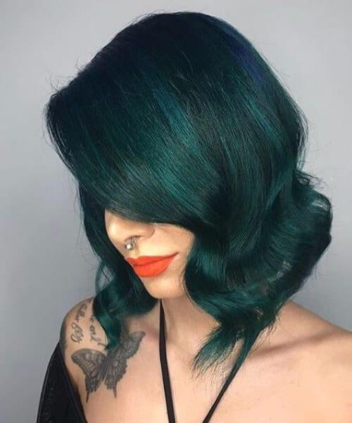 moss green balayage short hair