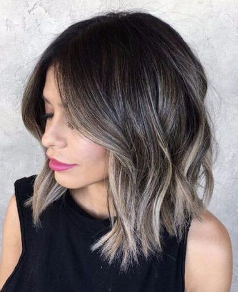 mushroom gray brunette balayage short hair
