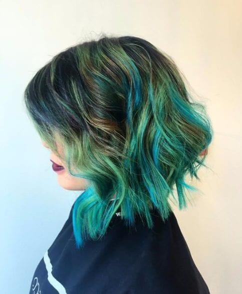 peacock green balayage short hair