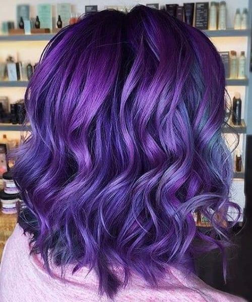 purple blue balayage short hair