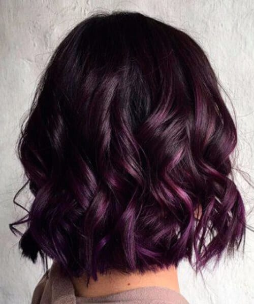 royal purple balayage short hair