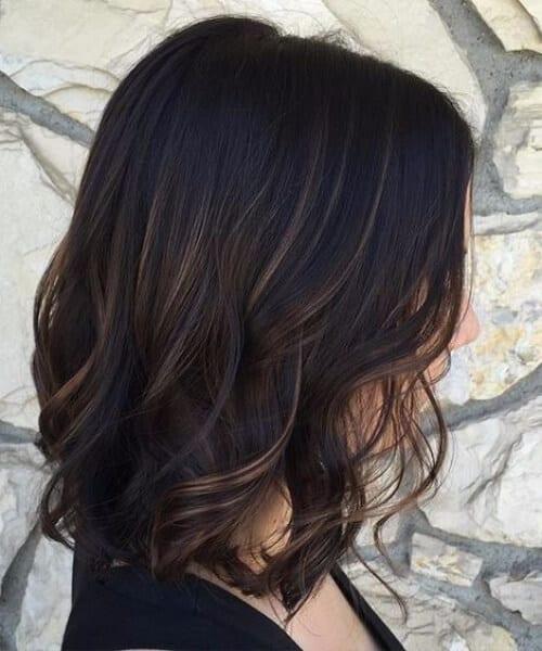 subtle balayage with a dark chocolate base balayage short hair
