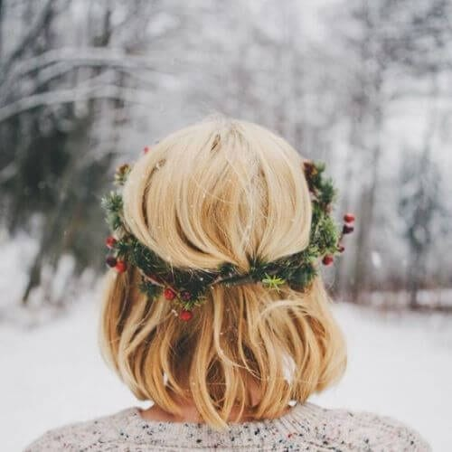 holiday hair wreath inverted bob