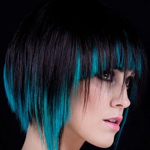 Back Hair With Turquoise peekaboo Highlights