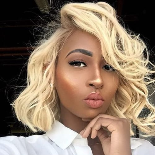 bottle blonde bob hairstyles for black women